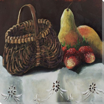 Fruit Basket III Pears & Strawberries Wrapped Canvas Giclee Art Print