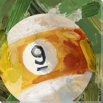 Billiard 9 Ball Wrapped Canvas Giclee Print Wall Art