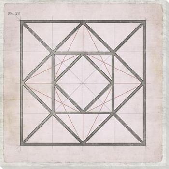 Geometric Pink No 23 Wrapped Canvas Giclee Art Print Wall Art