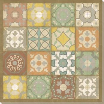 Barcelona Tiles I Wrapped Canvas Giclee Print Wall Art