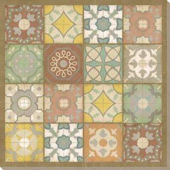 Barcelona Tiles II Wrapped Canvas Giclee Print Wall Art