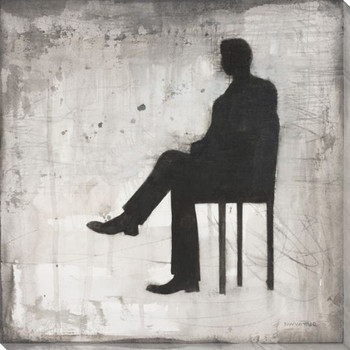 Man Sitting in a Chair Wrapped Canvas Giclee Print Wall Art