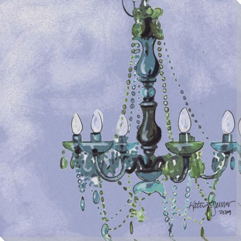 Lady in Blue Chandelier Wrapped Canvas Giclee Print Wall Art
