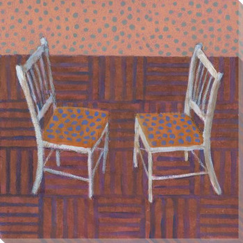 Twin Sisters Two Chairs Wrapped Canvas Giclee Print Wall Art