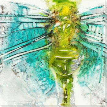 Blue Dragonfly Wrapped Canvas Giclee Print Wall Art