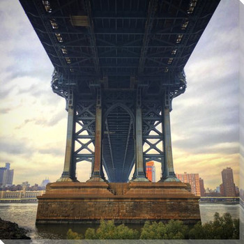 Manhattan Bridge Scene Wrapped Canvas Giclee Print Wall Art
