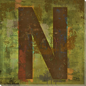 Letter Key N Wrapped Canvas Giclee Print Wall Art