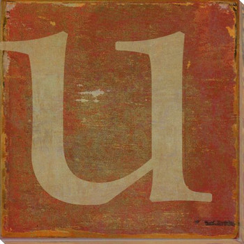 QWERTY Letter U Wrapped Canvas Giclee Print Wall Art