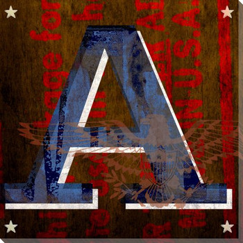 Patriotic USA Letter A Wrapped Canvas Giclee Print Wall Art