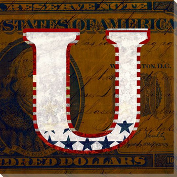 Patriotic USA Letter U Wrapped Canvas Giclee Print Wall Art