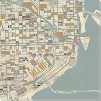 Miami City Grid Map Wrapped Canvas Giclee Print Wall Art