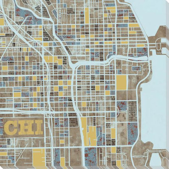 Chicago City Grid Map Wrapped Canvas Giclee Print Wall Art