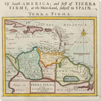 Old South America Map Wrapped Canvas Giclee Print Wall Art