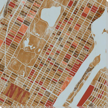 New York City Grid Map Wrapped Canvas Giclee Print Wall Art