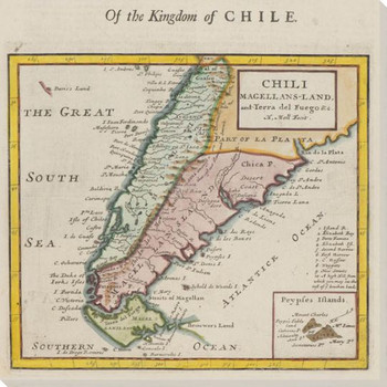 Old Kingdom of Chile Map Wrapped Canvas Giclee Print Wall Art