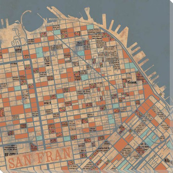San Francisco City Grid Map Wrapped Canvas Giclee Print Wall Art