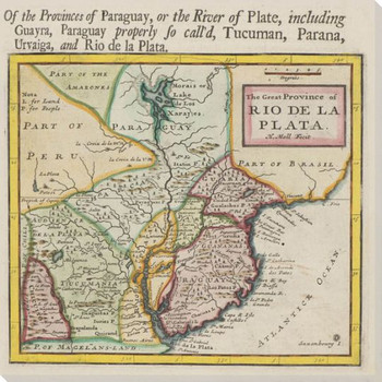 Old Provinces of Paraguay Map Wrapped Canvas Giclee Print Wall Art