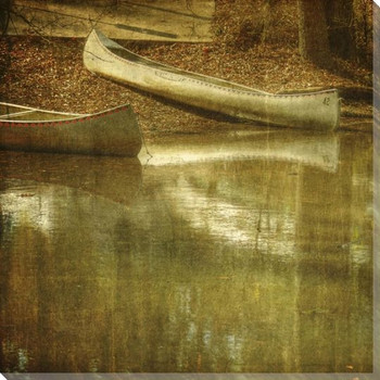 Two Canoes Wrapped Canvas Giclee Print Wall Art