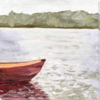 Red Boat Wrapped Canvas Giclee Art Print Wall Art
