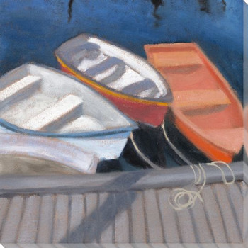 Rockport Boats 2 Wrapped Canvas Giclee Print Wall Art
