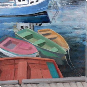 Rockport Boats 3 Wrapped Canvas Giclee Print Wall Art