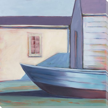 Boat House Color Block 2 Wrapped Canvas Giclee Print Wall Art
