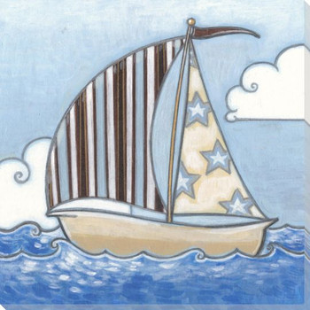 Little Sailor Sailboat II Wrapped Canvas Giclee Print Wall Art