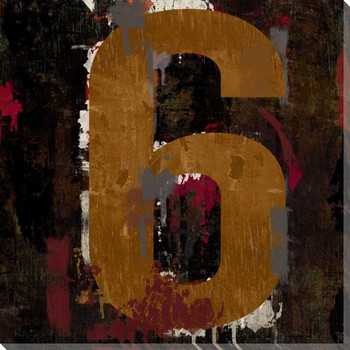 Number Key 6 Wrapped Canvas Giclee Print Wall Art