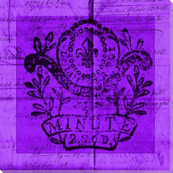 Bright Stamp Purple Wrapped Canvas Giclee Print Wall Art