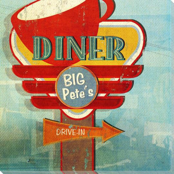 Retro Diner Sign Wrapped Canvas Giclee Print Wall Art