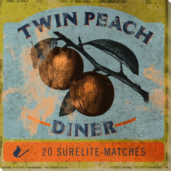 Twin Peach Diner Matchbook Wrapped Canvas Giclee Print Wall Art