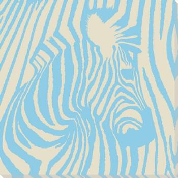 Blue Pop Zebra Wrapped Canvas Giclee Print Wall Art