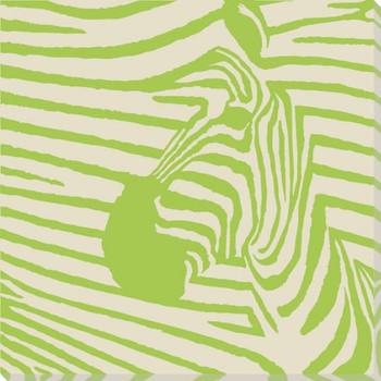 Green Pop Zebra Wrapped Canvas Giclee Print Wall Art