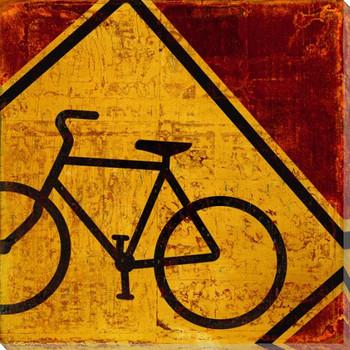 Recreation Biking Sign Wrapped Canvas Giclee Print Wall Art