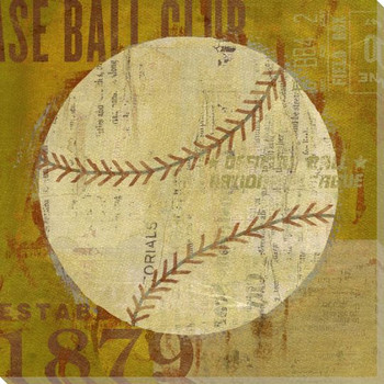 Baseball Wrapped Canvas Giclee Print Wall Art