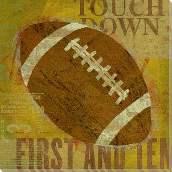 Football Wrapped Canvas Giclee Print Wall Art
