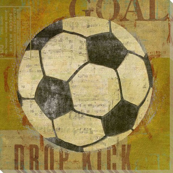 Soccer Ball Wrapped Canvas Giclee Print Wall Art