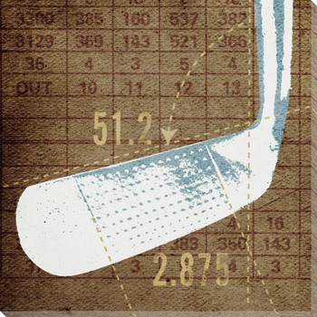 Golf Iron Head Wrapped Canvas Giclee Print Wall Art