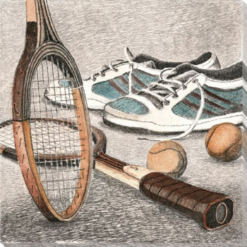 Tennis Equipment Wrapped Canvas Giclee Print Wall Art