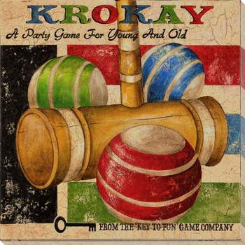 Krokay Croquet Game Wrapped Canvas Giclee Print Wall Art
