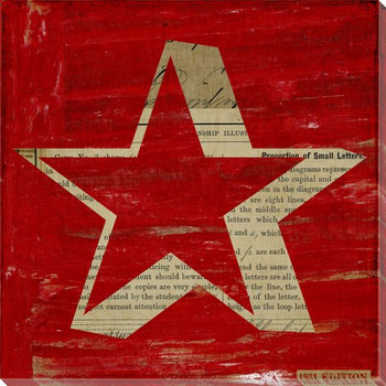 Red Star Wrapped Canvas Giclee Print Wall Art