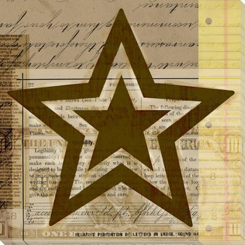 Gold Star Wrapped Canvas Giclee Print Wall Art