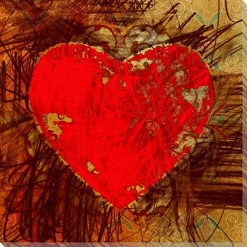 Colorful Red Heart Wrapped Canvas Giclee Print Wall Art