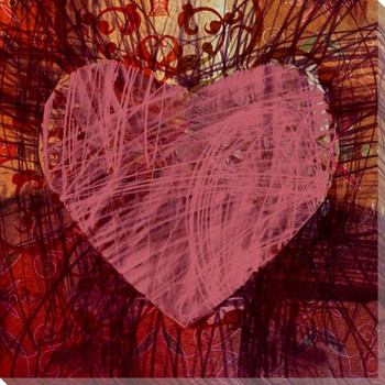 Colorful Pink Heart Wrapped Canvas Giclee Print Wall Art