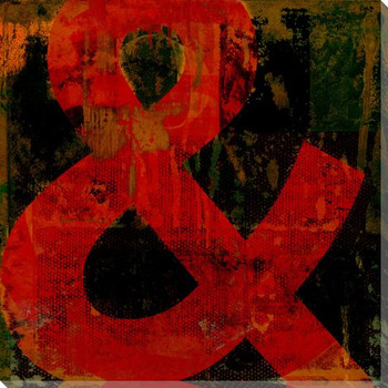 Red Ampersand Symbol Wrapped Canvas Giclee Print Wall Art