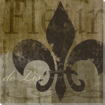 Fleur de Lis I Symbol Wrapped Canvas Giclee Print Wall Art
