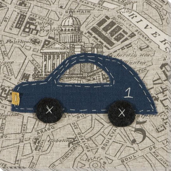 Blue Car Wrapped Canvas Giclee Print Wall Art