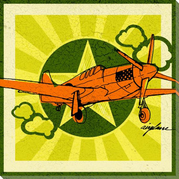 Pop Airplane Wrapped Canvas Giclee Print Wall Art