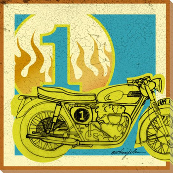 Pop Motorcycle Wrapped Canvas Giclee Print Wall Art