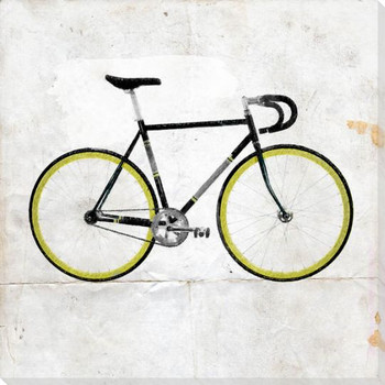 Green Racer Bike Wrapped Canvas Giclee Print Wall Art